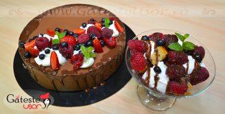 Tort cu Mousse de Ciocolata neagra si Fructe de padure