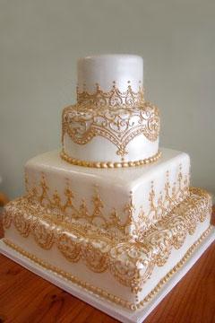 Pink Ombre Damask Wedding Cake