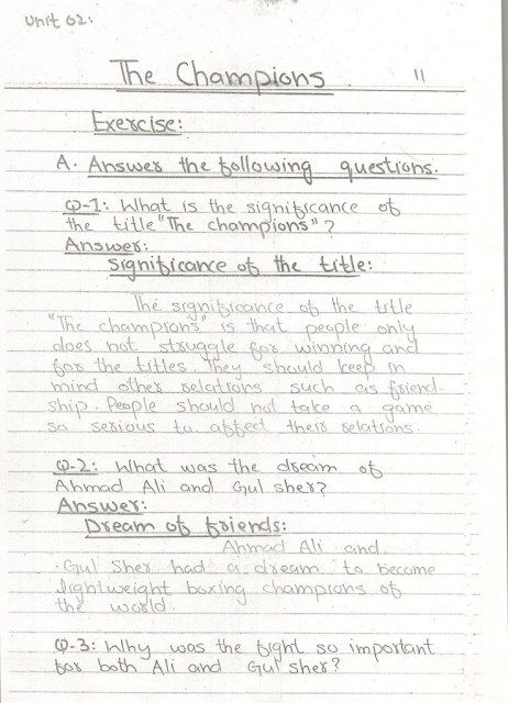 Unit 02 The Champions Class 10 English Notes 1