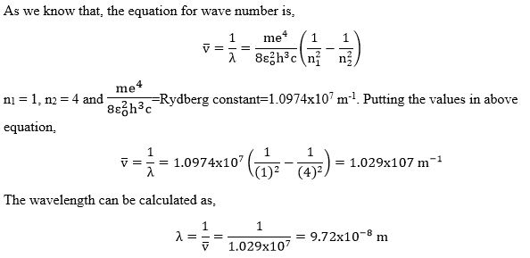 Calculate the wave number and wave length of a photon when the electron jumps from n2 = 4 to n1 = 1.