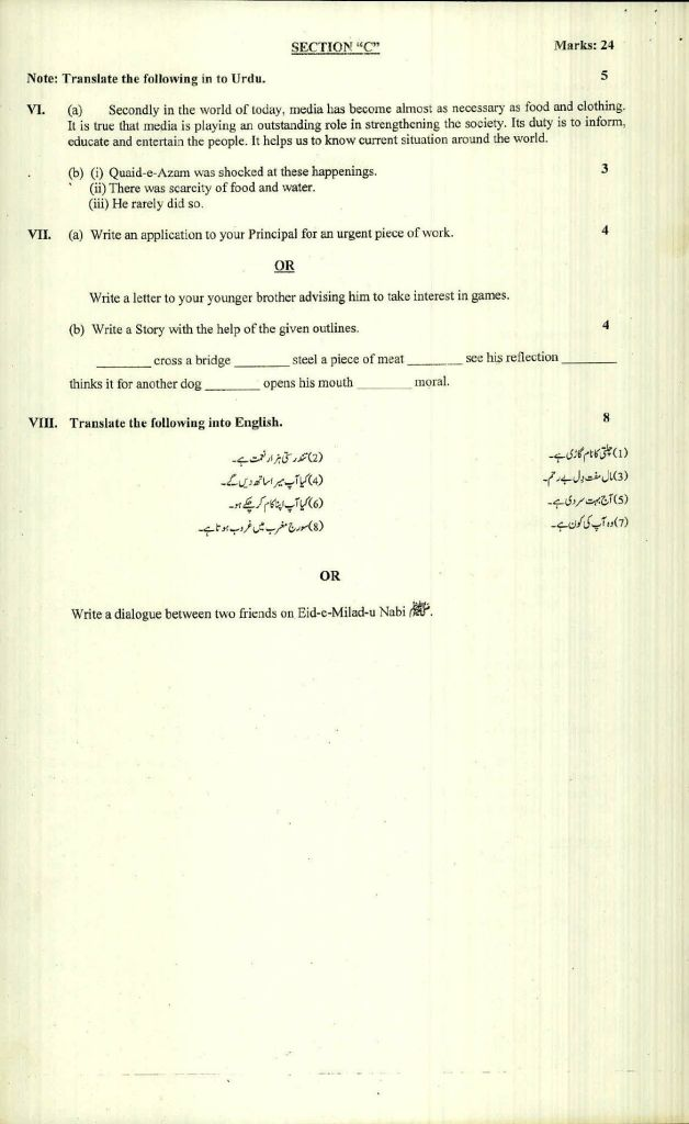 BISE Saidu Sharif Swat SSC 9th Model Papers Pdf Download 7