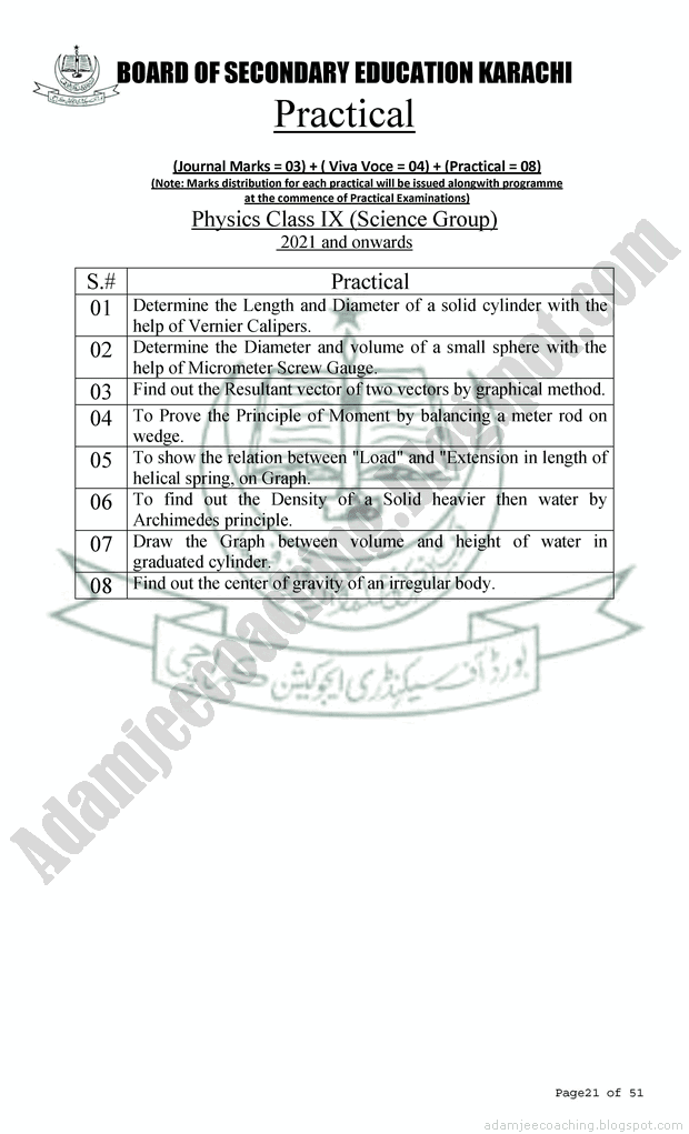 Adamjee Physics 9th New Pattern 2021 Model Papers page 3