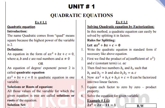 Class 10 Maths Notes
