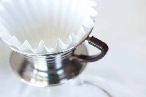 The Kalita Wave dripper, available in stainless steel, ceramic, or glass.