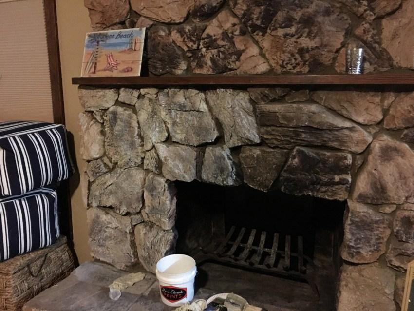 farmhouse style, whitewash stone, whitewash stone fireplace, paint stone fireplace, farmhouse stone fireplace, stone fireplace update, update stone fireplace, budget stone fireplace update