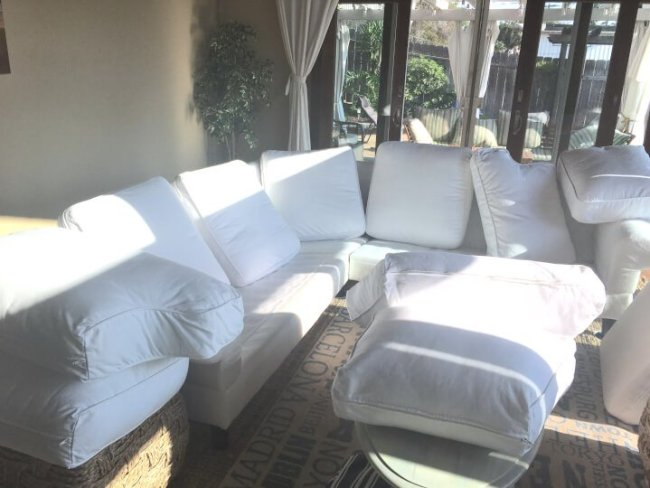 How to clean white slipcover, white slipcover sofa, white sofa, cleaning white sofa