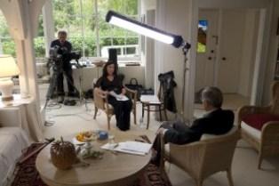 Julie Miller conducts an interview