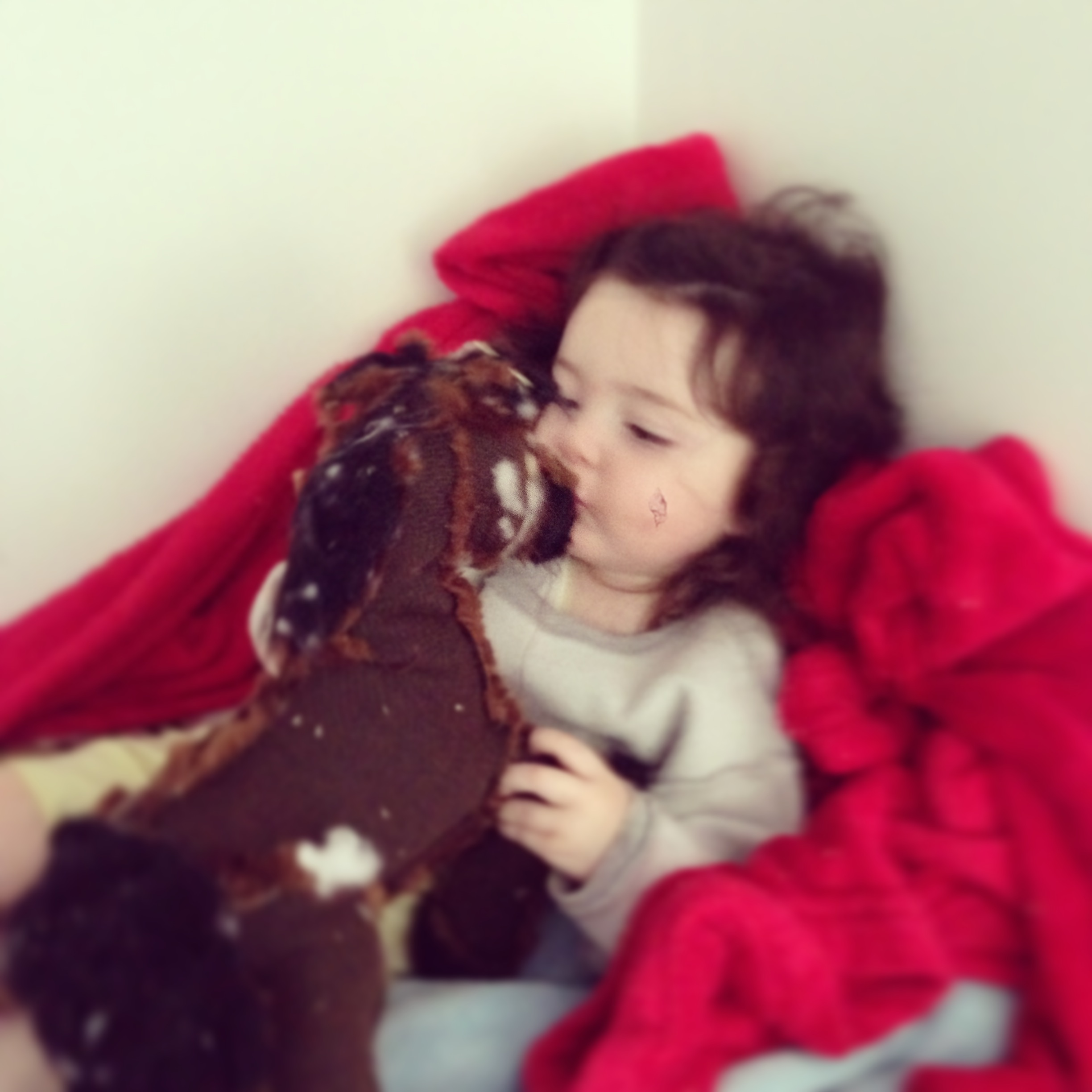Lila gives her horsey a kiss