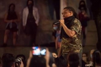A speaker at a Black Lives Matter event.