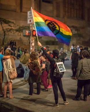 Black Power and LGBTQ flag.