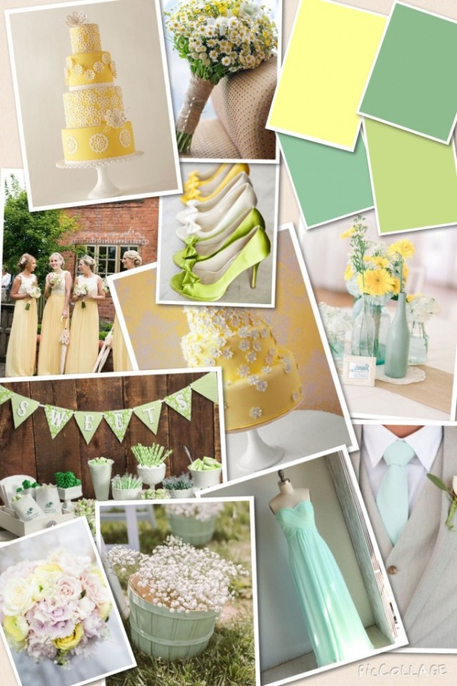 mint yellow and green wedding