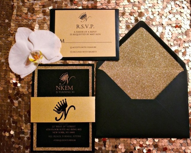 Black Gold and Glitter Invitation