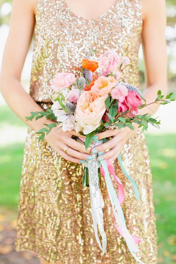 Gold Sequin Bridesmaid Dress