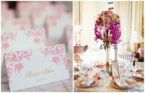 pink and gold reception