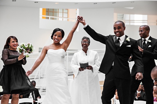Modern Black and White Museum Wedding 38