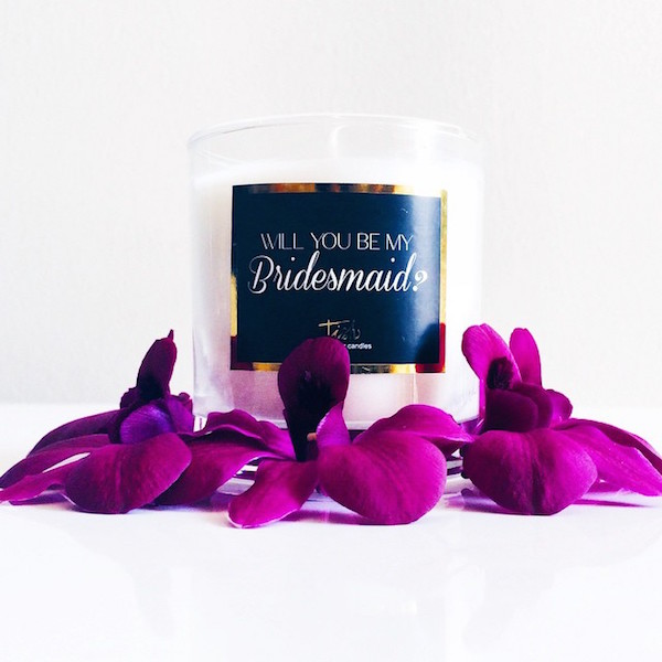 Will you be my bridesmaid candles by Tish