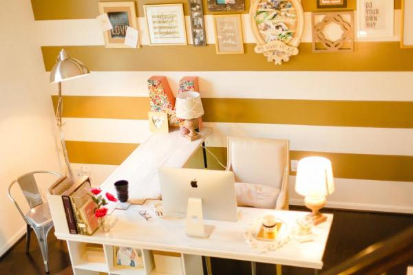 Gold and Polka Dot Home Office 11