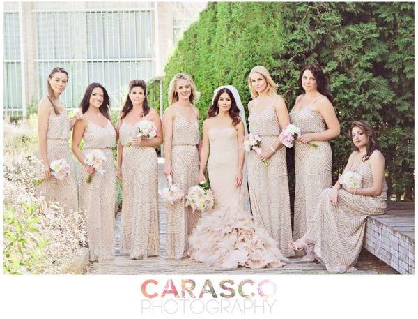 Adriana Papell Pastel bridesmaids