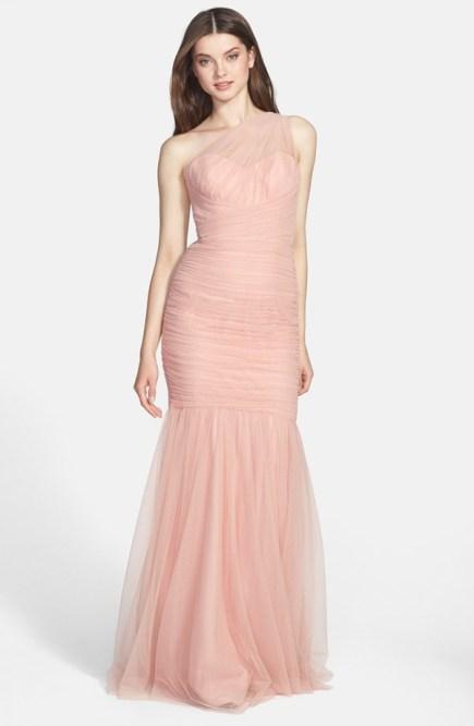 amsale one shoulder bridesmaid gown