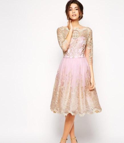 pink lace overlay bridesmaid dress