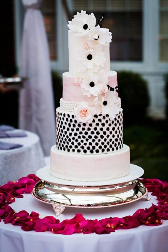 black white and pink wedding cake