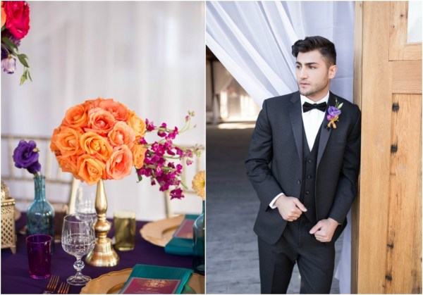 Purple orange and gold wedding inspiration