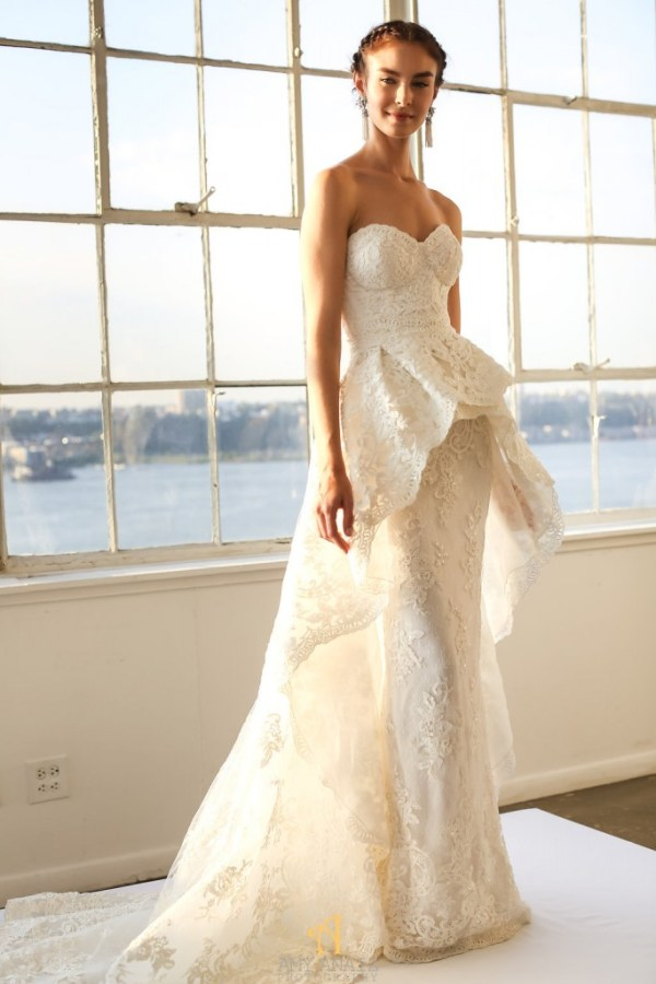 Marchesa Dress with Peplum Overskirt