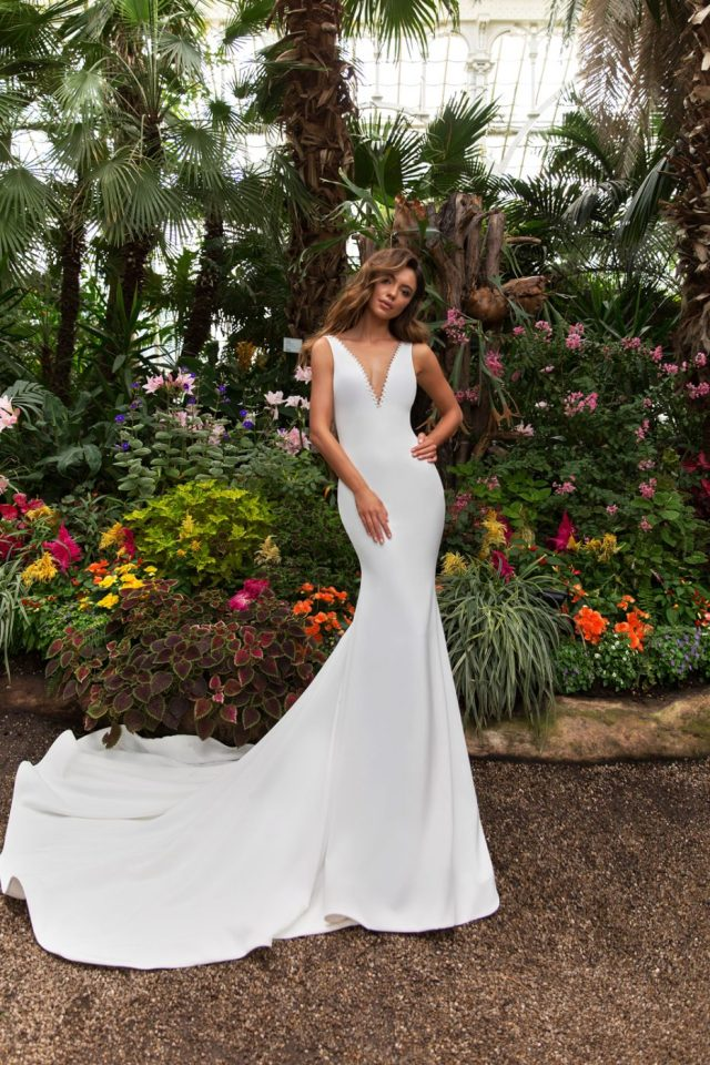 v neck sleeveless wedding gown by Crystal Design Couture