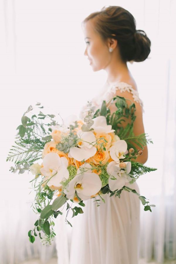 Bouquet of Viva Ecuadorian Roses White Phalaenopsis Orchids Queen Anne's Lace Greenery