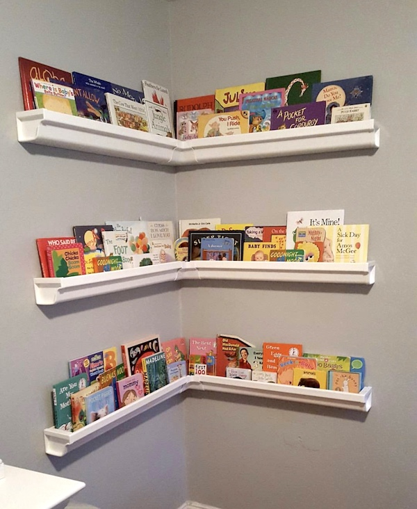 rain gutter shelves for nursery