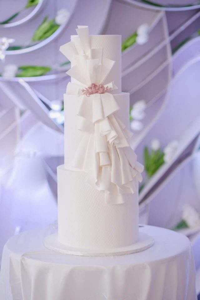 classic three tier white wedding cake