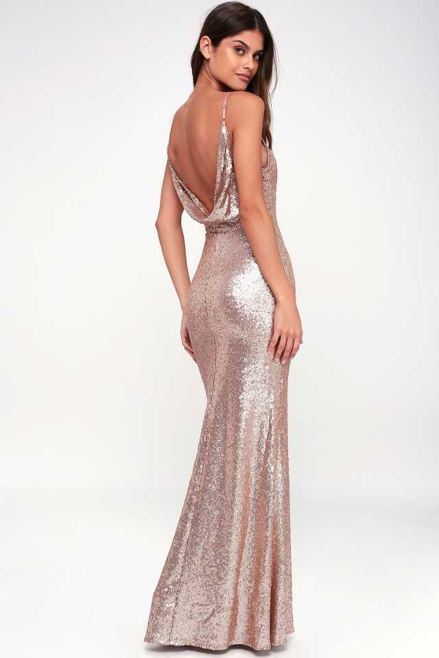 low back maxi wedding reception dress in rose gold. sparkly bridal fashion.