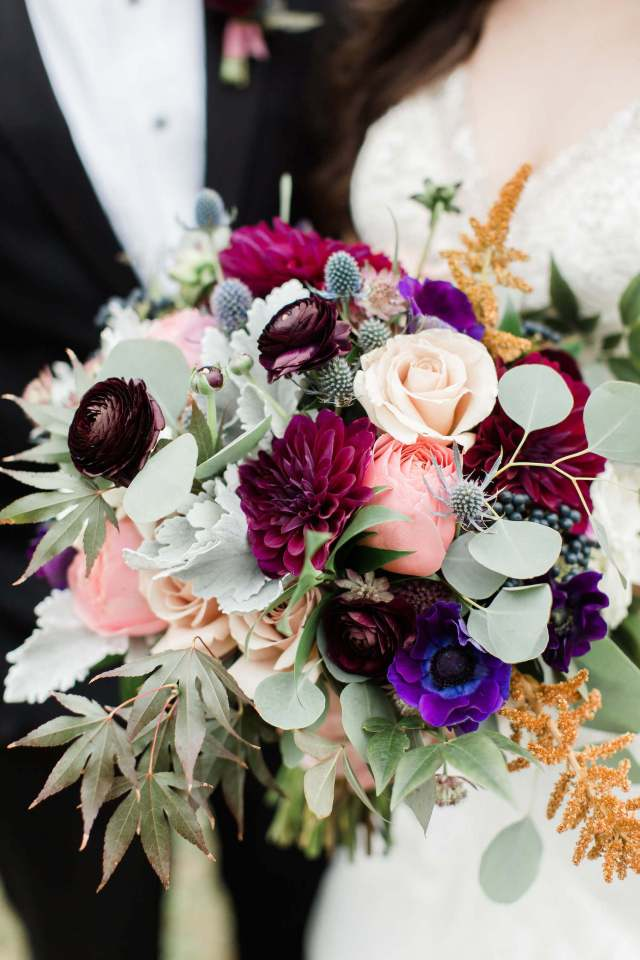 Colorful fall wedding bouquet by J Morris Flowers