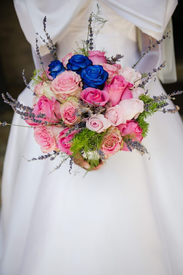 Pink and blue wedding bouquet