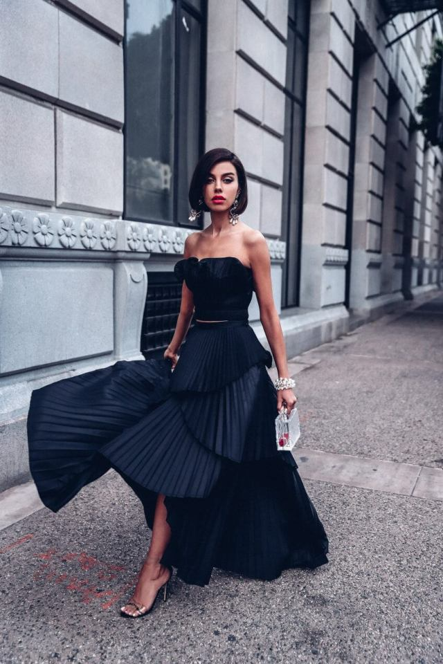 black holiday dress by Amur oriel and ophelia skirt