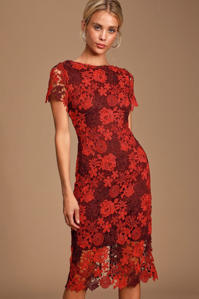 red fitted lace dress midi by lulus