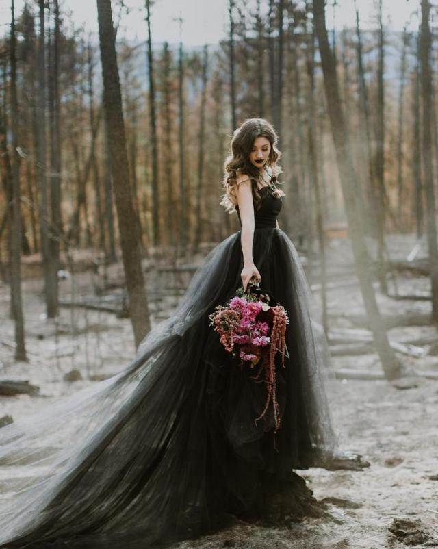 off shoulder black tulle wedding gown