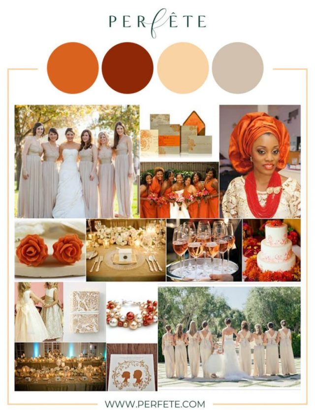 Burnt Orange & Champagnewedding colors