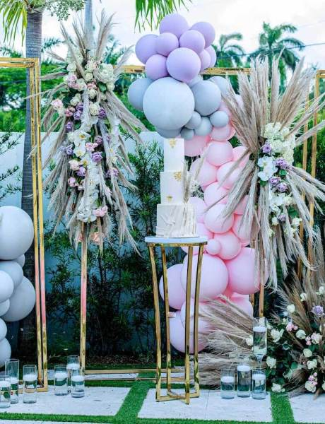 Chic Pool Side Miami Birthday Party with Lavender and Pink Decor-24