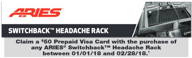 ARIES: Get a $25 Prepaid Card on Switchback Headache Rack Purchases