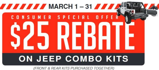 BedRug $25 Back on Jeep Combo Kits
