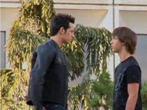 Len (Matt Mullins) and Kit (Stephen Lunsford) discuss training