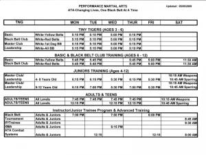 Class Schedule for Performance Martial Arts - Valdosta