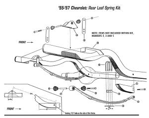 5557 Chevy Belair, Rear Leaf Spring Relocation Kit #