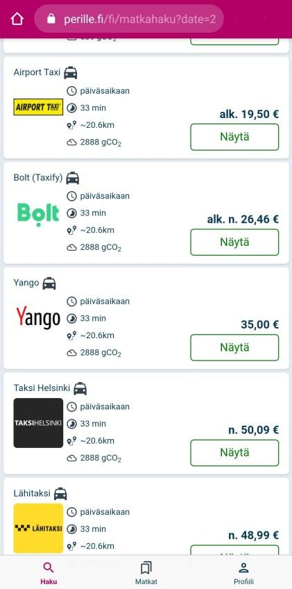 Taksilla lentoasemalle