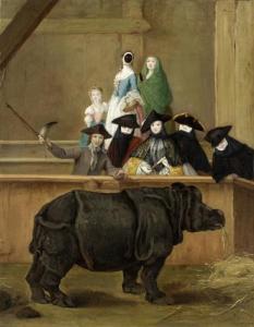 Piero Longhi's Clara the Rhinoceros. Oil on Canvas. 1751.