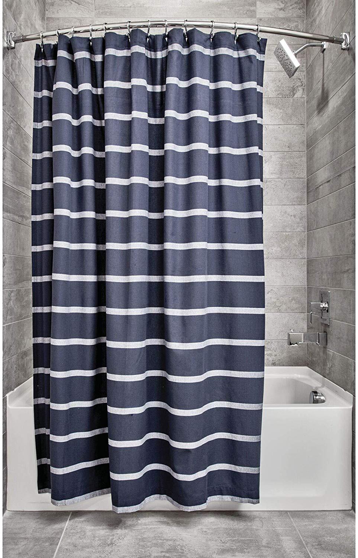 100 cotton shower curtain navy blue white stripe