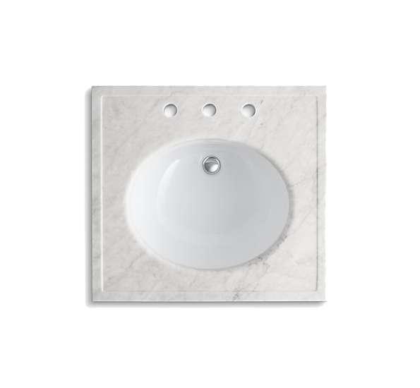kohler kathryn white carrara marble 24 x 22 console sink top