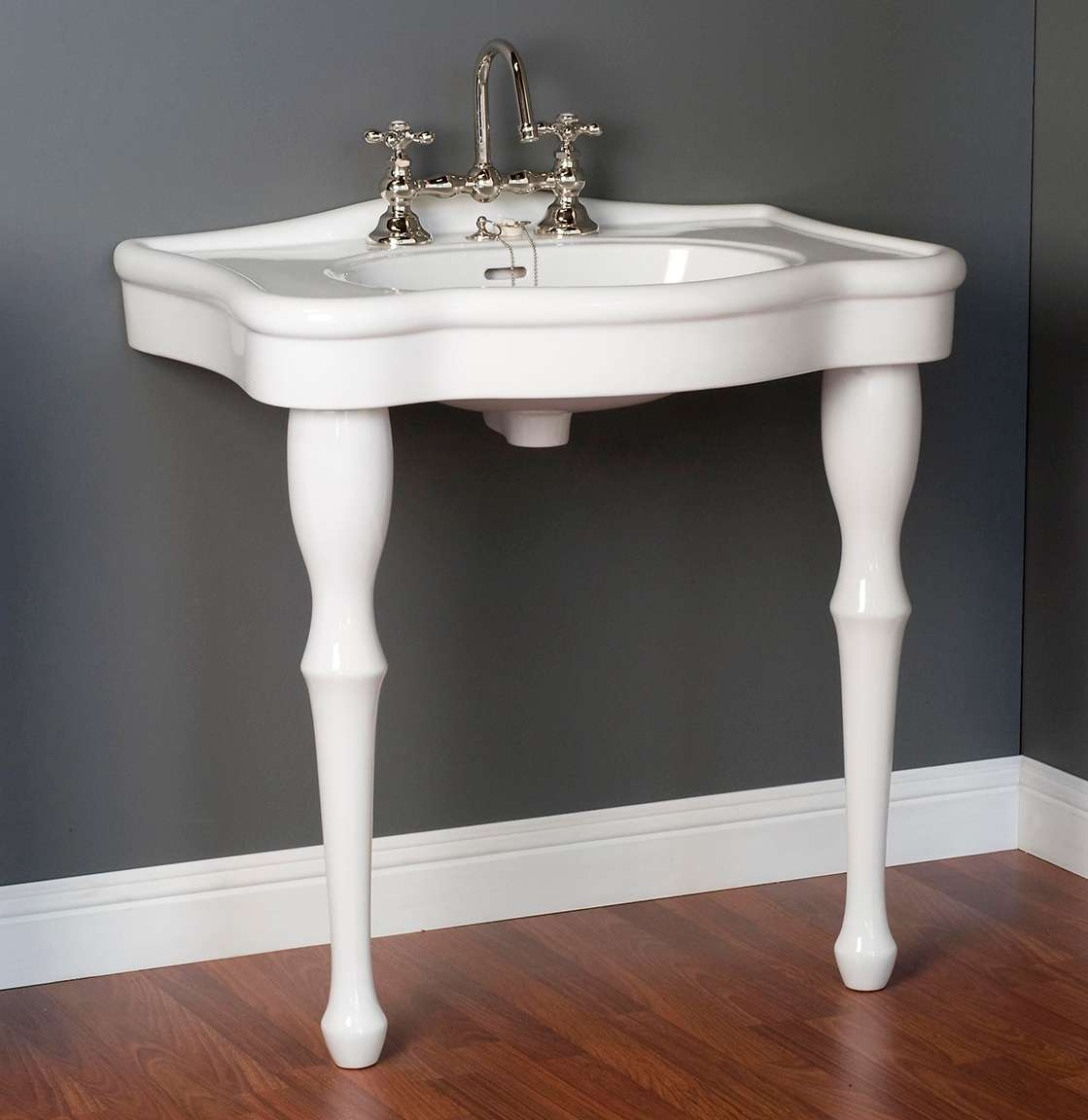 traditional 32 wide porcelain console bathroom sink and legs