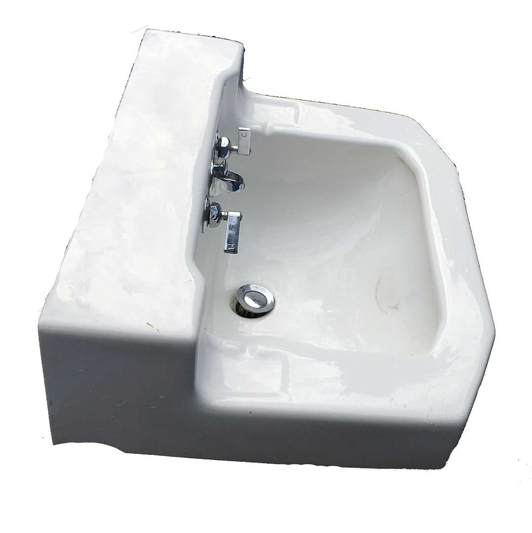 antique kohler porcelain wall hung shelf back bathroom sink